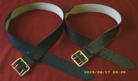 Ремень поясной ТУ с латунной пряжкой (черный коричневый)