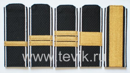 Погоны ВМФ Сержантский состав  с белым кантом на ленте с металлизированным галуном (пластик)