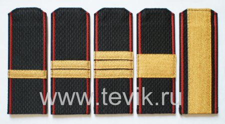 Погоны ВМФ Сержантский состав  с красным кантом на ленте с металлизированным галуном (пластик)
