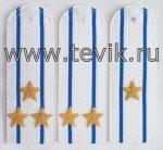 Погоны на белую рубашку с вышитыми звездами (пластик)