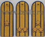 Погоны на китель парадные золото с вышитыми звездами (картон)